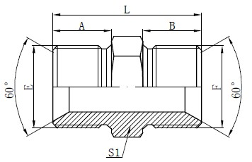 BSP Male Adapter Fittings Drawing